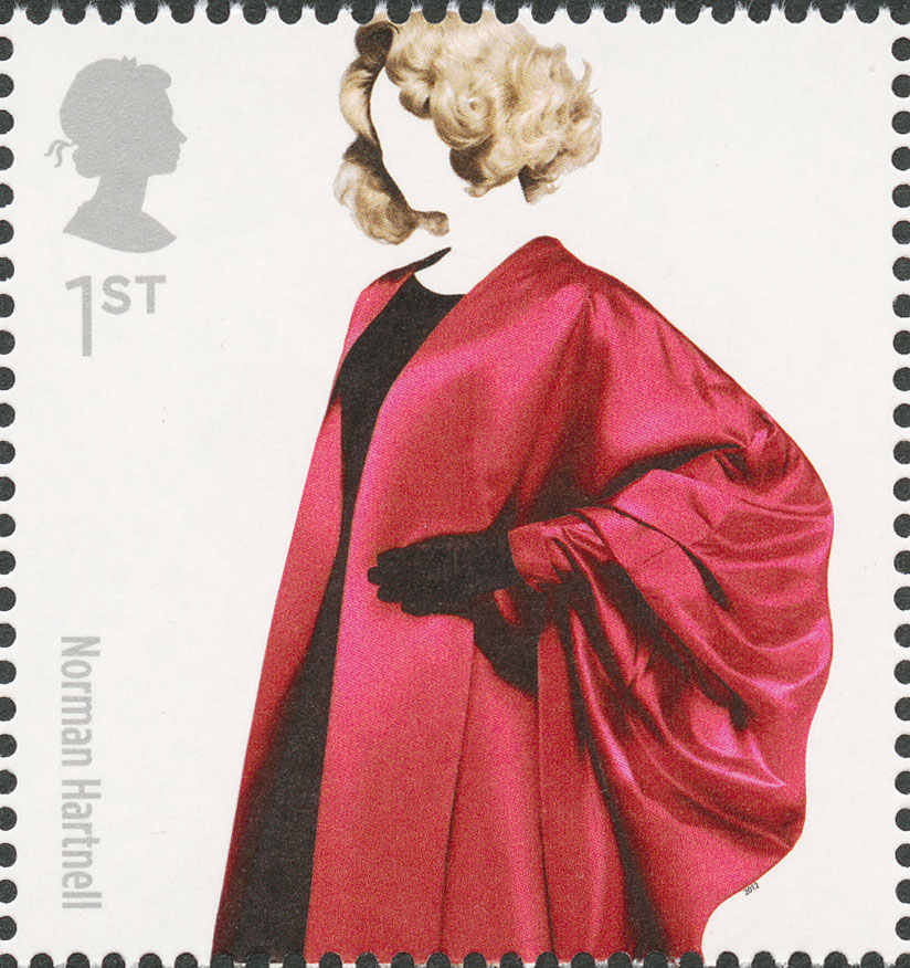 A stamp depicting a women in a black dress with an oversized pink jacket.