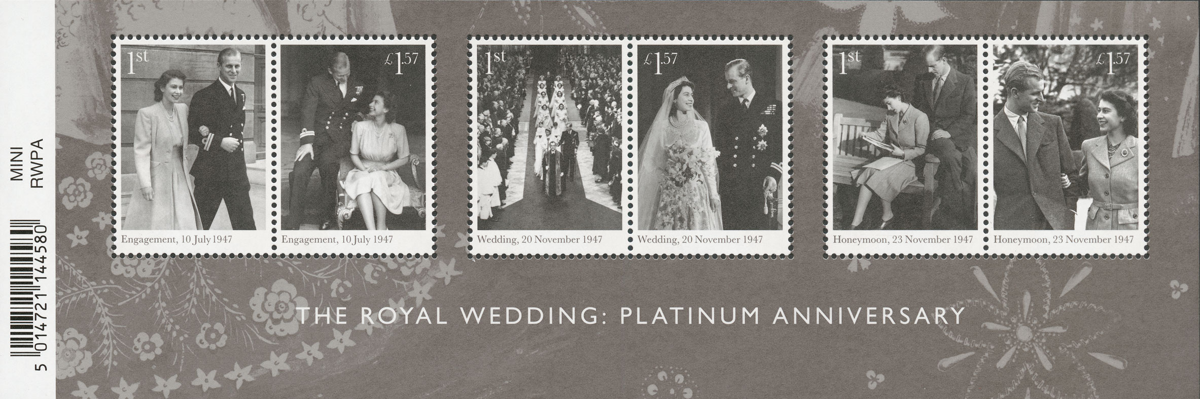 A miniature sheet featuring 6 stamps from the engagement, wedding and honeymoon of Queen Elizabeth II and the Duke of Edinburgh.