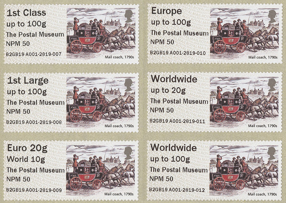 Post & Go February 2019 - Mail Coach design in all values. Stamp showing an illustration of an 18th century mail coach.