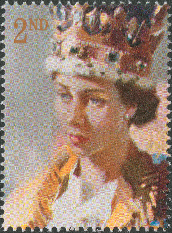 A stamp depicting the head and shoulder of Queen Elizabeth II during her coronation, painted by Terence Cuneo.