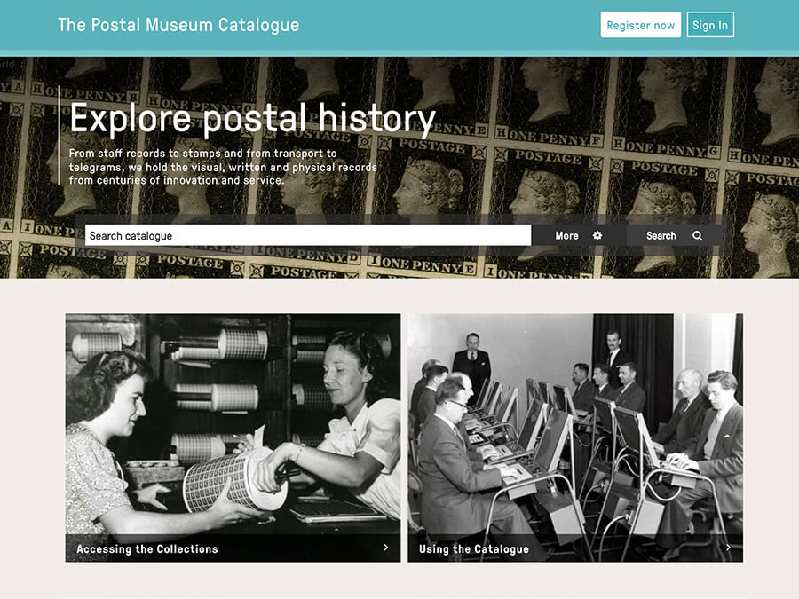The Postal Museum online catalogue - search page.