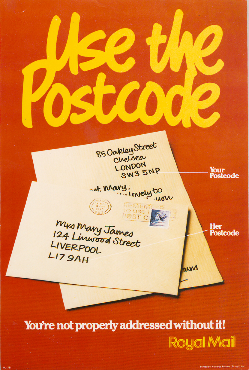 Poster depicting where the postcodes appear on envelopes.