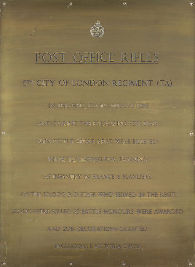 Brass plaque commemorating the men of the Post Office Rifles that lost their lives during the First World War.