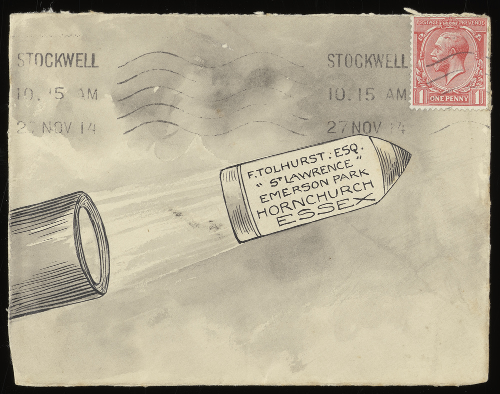 Decorated envelope of a bomb being launched.