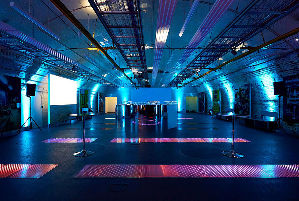Photo of the Mail Rail event space with blue lighting setup.