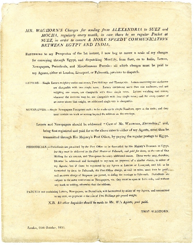 A document depicting the rates at which different items were charged to be sent to India.