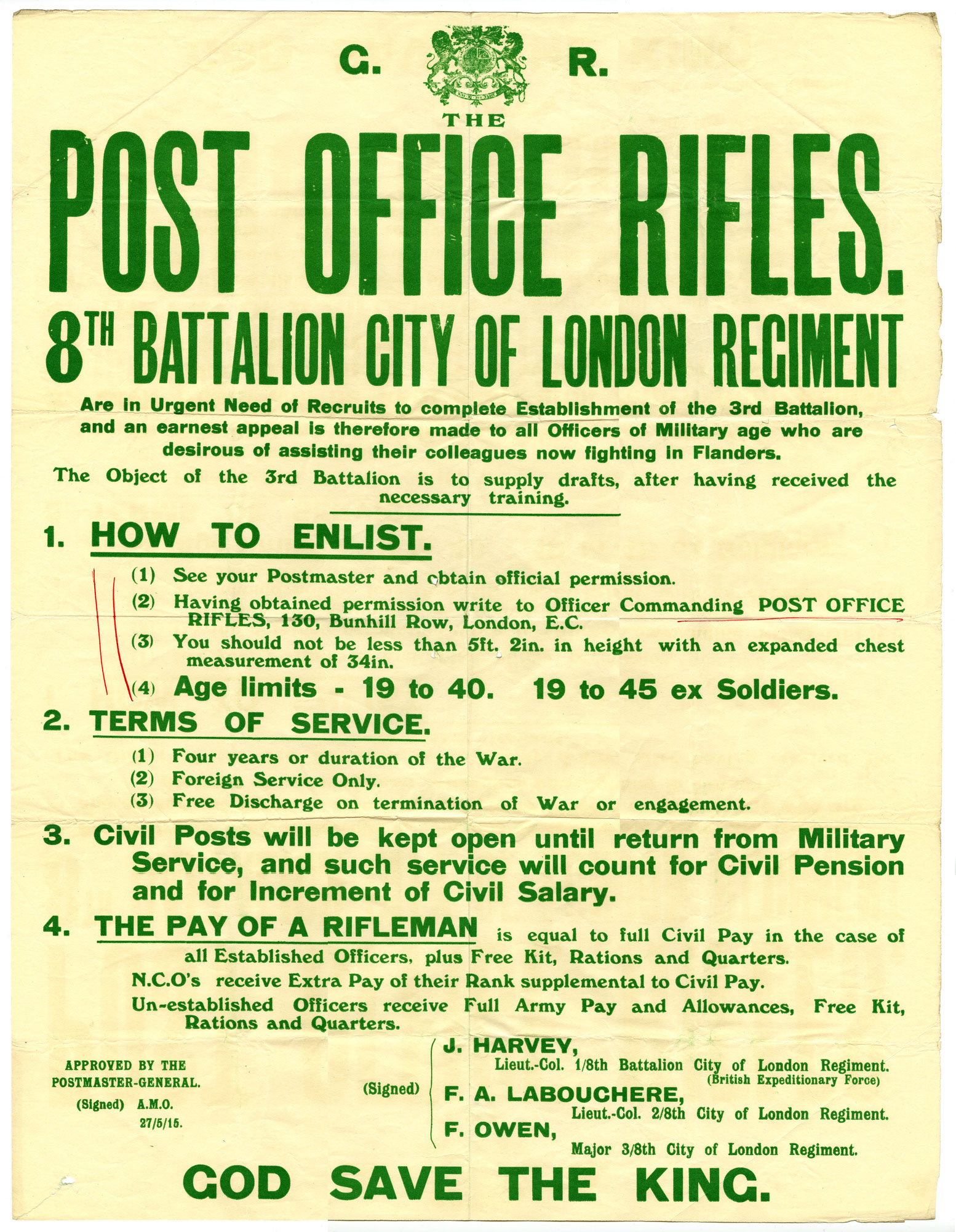 Poster with green text recruiting men for the Post Office Riffles.