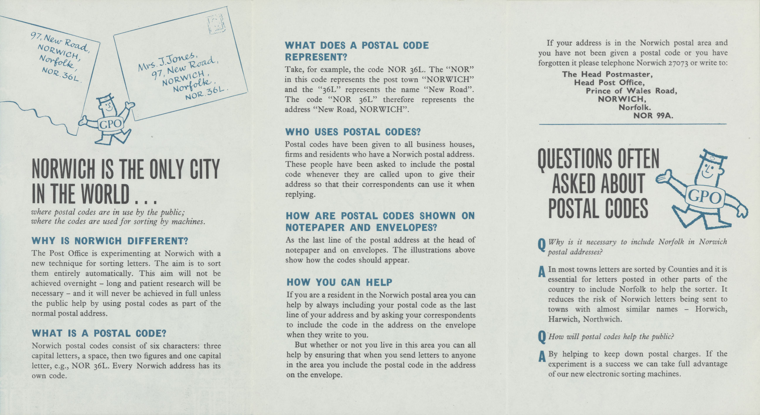 Leaflet with information about Norwich postal coding and illustration of the GPO man.