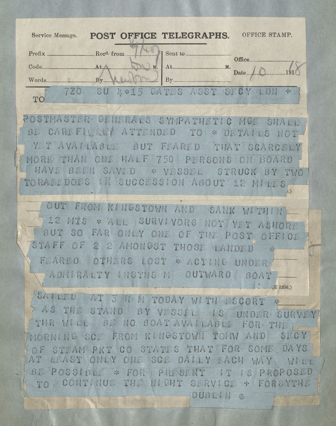 Telegram talking of the lose of life with the sinking of RMS Leinster