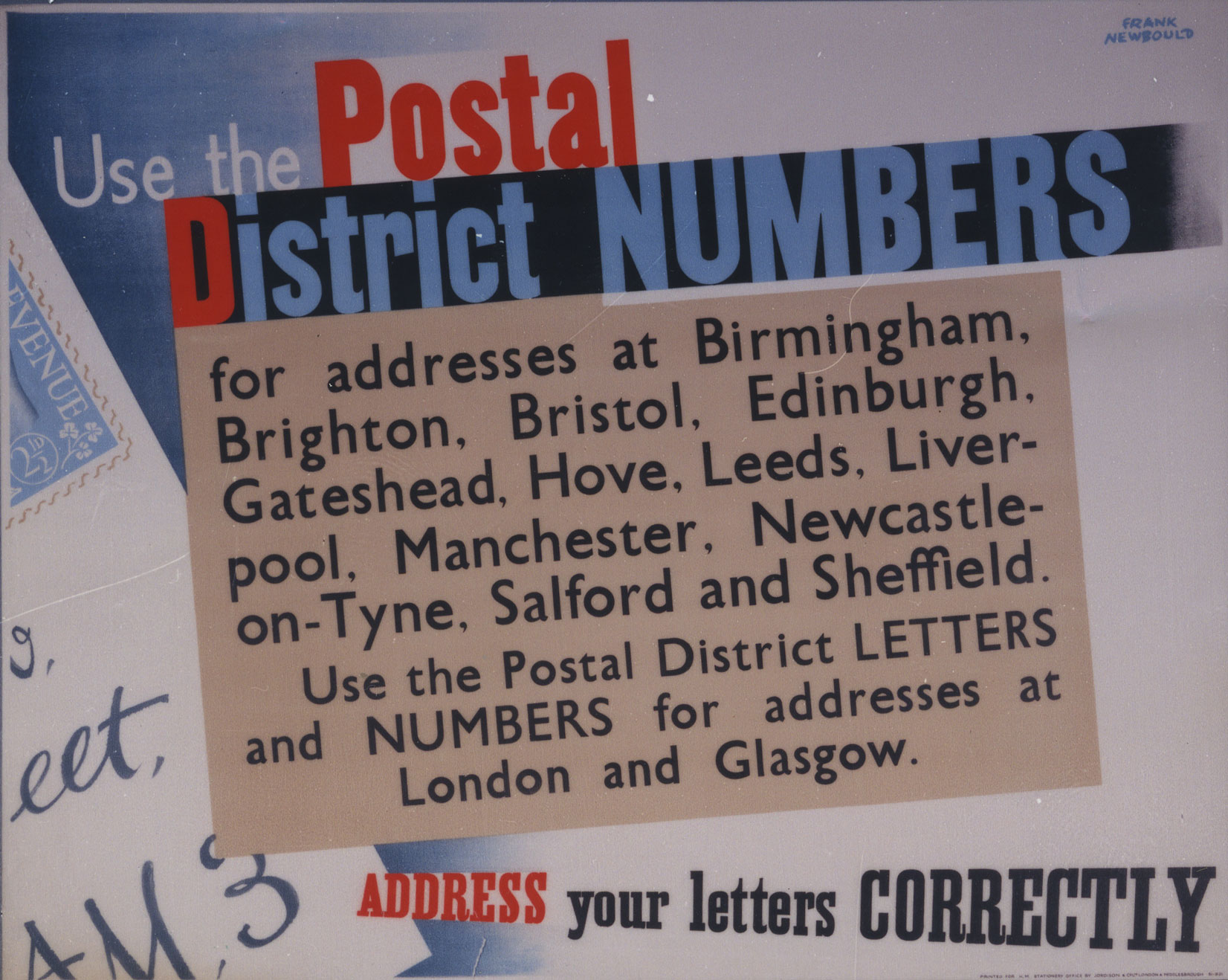 Poster encouraging people to use Postal District Numbers for big cities.