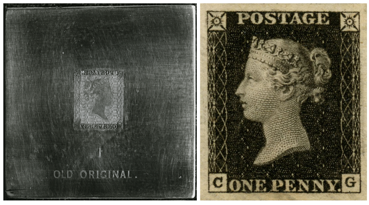 A image of the engraved Penny Black design on the die used to produce the stamps and an example of the stamp itself.
