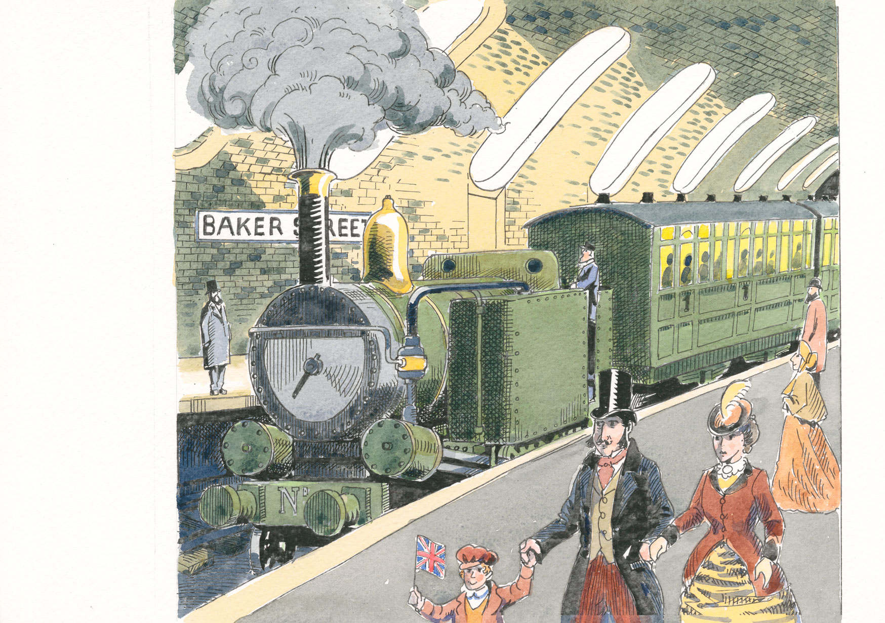 Painting of the Victorian underground with a family in the foreground and a green steam train behind.