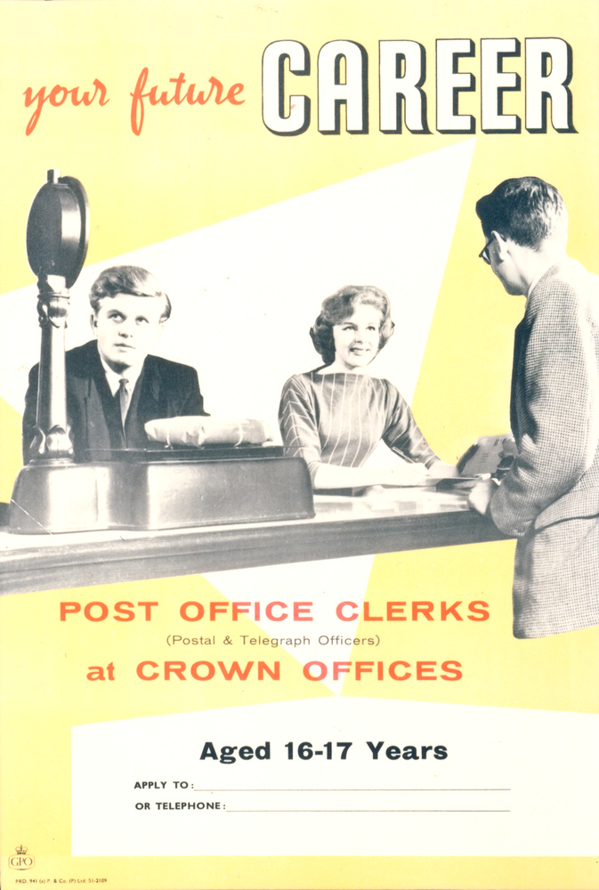 A yellow recruitment poster featuring a a women behind a counter and two men.