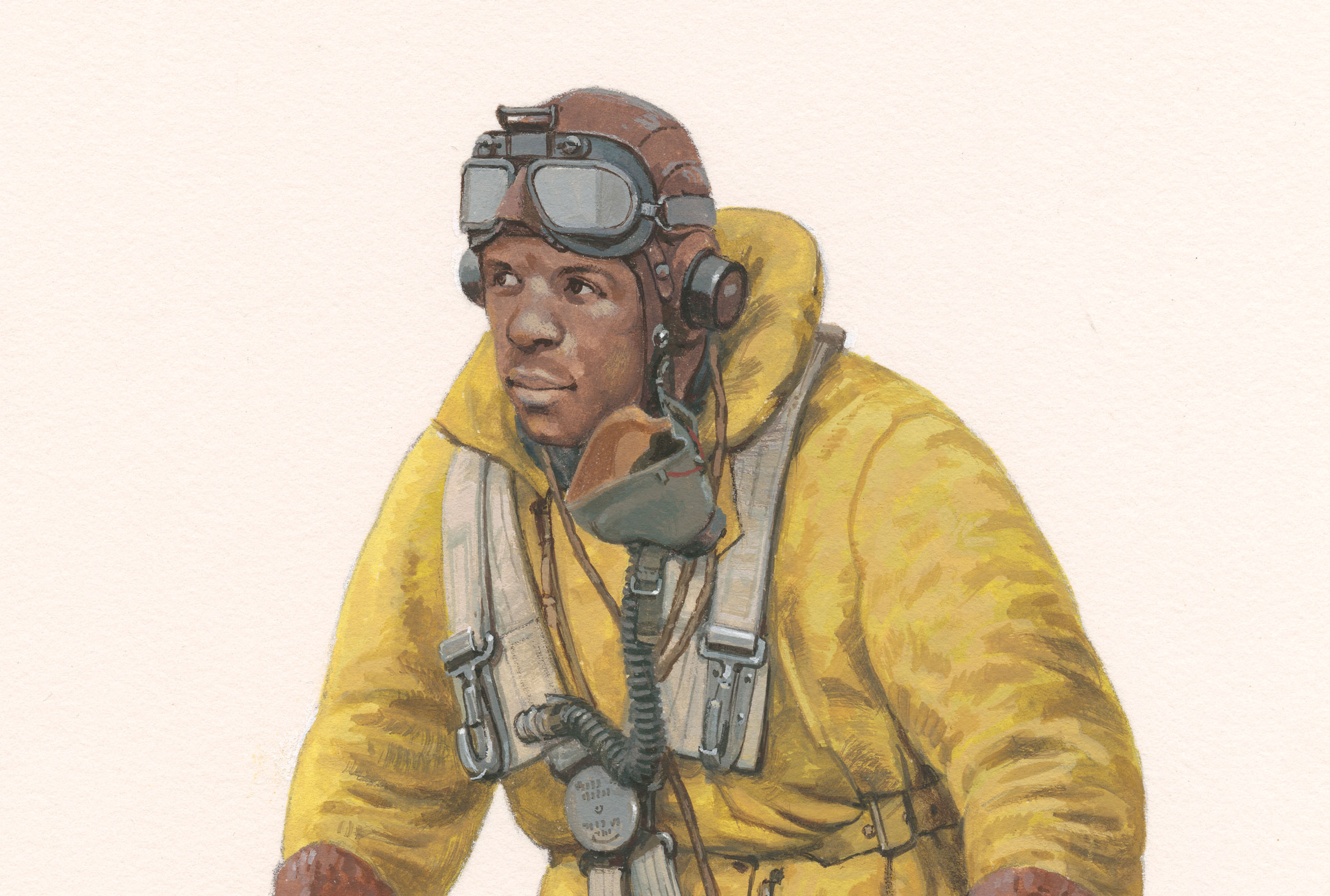 A painting of the head and shoulders of a black Lancaster Air Gunner with hat and goggles.