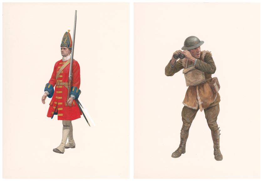 Two paintings depicting a Grenadier in a long red jacket and a Artillery Observer in a fur lines jacket and metal hat.