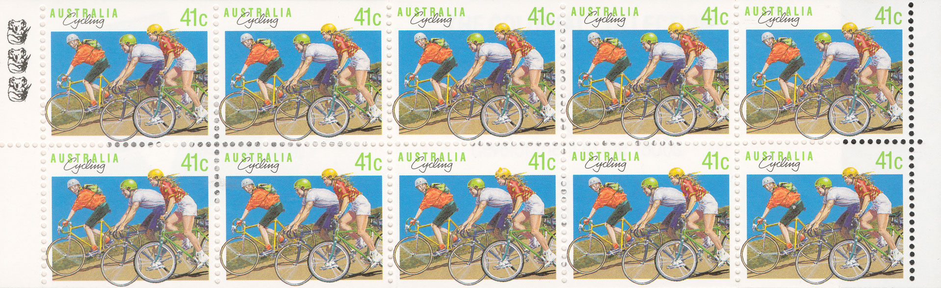 Ten stamp with three children cycling.