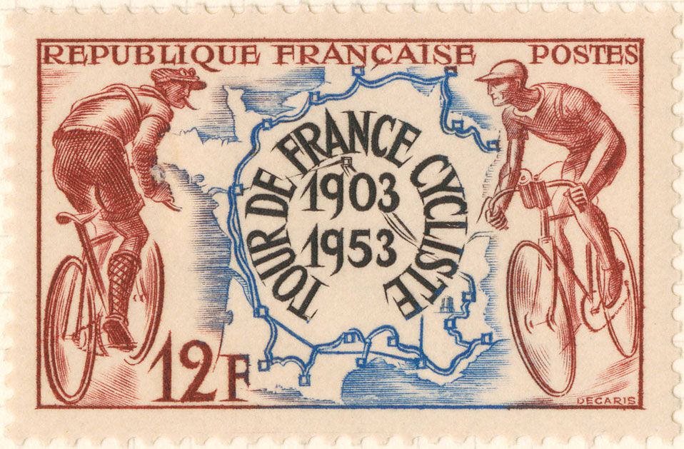 A stamp featuring illustration of cyclists and the map of the Tour de France.