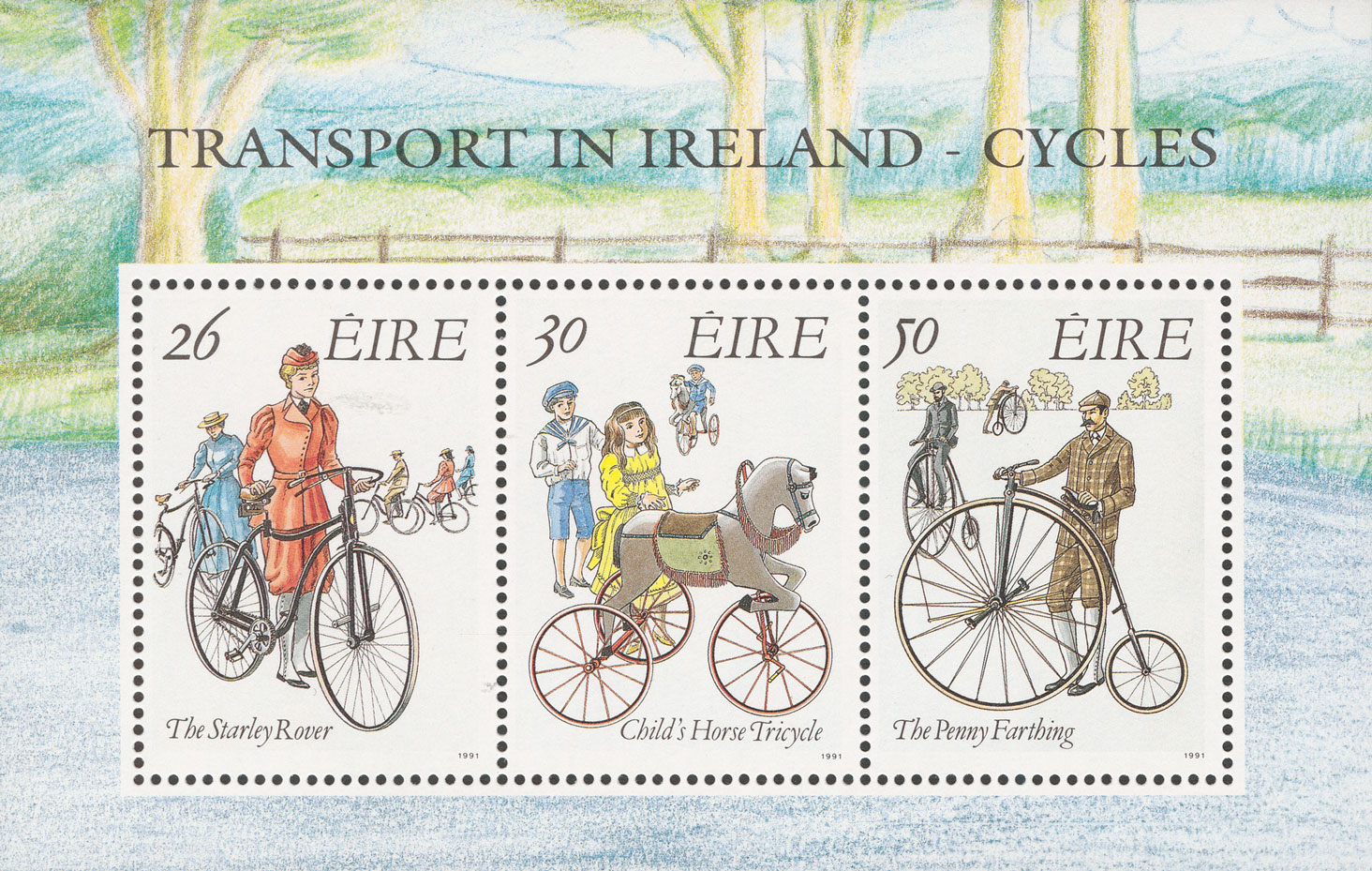 A miniature sheet with three stamps featuring three types of bikes.