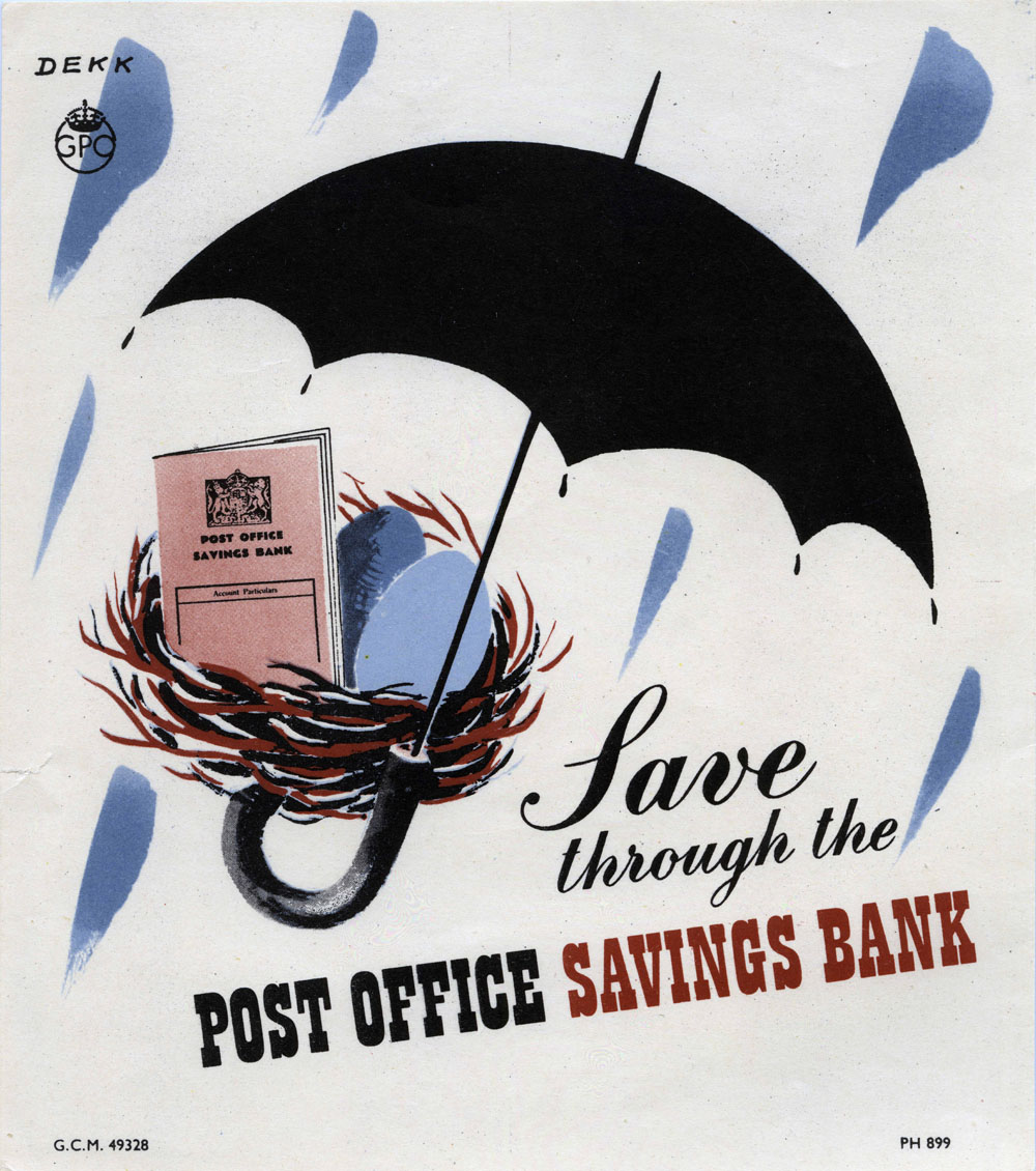 Save through the Post Office Savings Bank poster