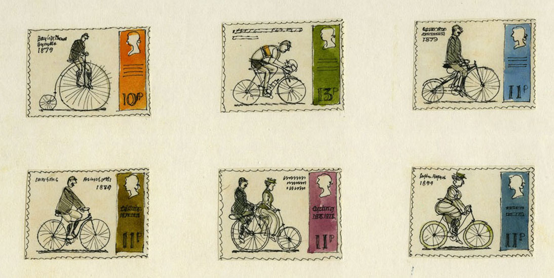 Six rough sketches of cycling through the ages.