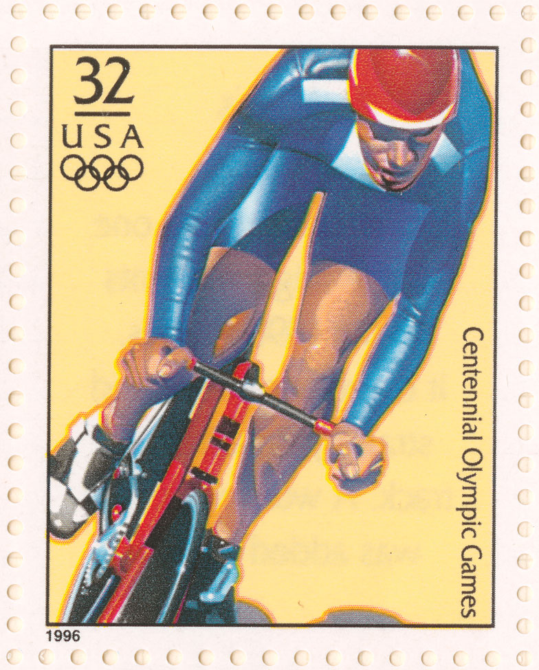 Stamp featuring an American cyclists in a blue suit.