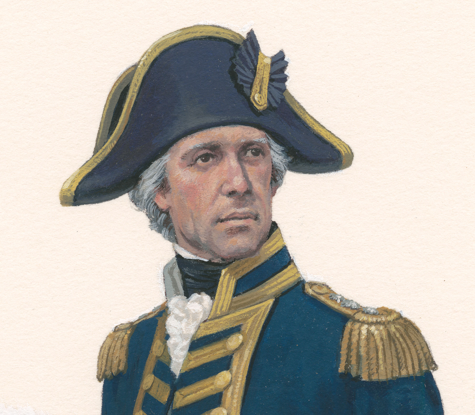 A painting of the head and shoulders of an Navy Admiral with blue and gold hat.