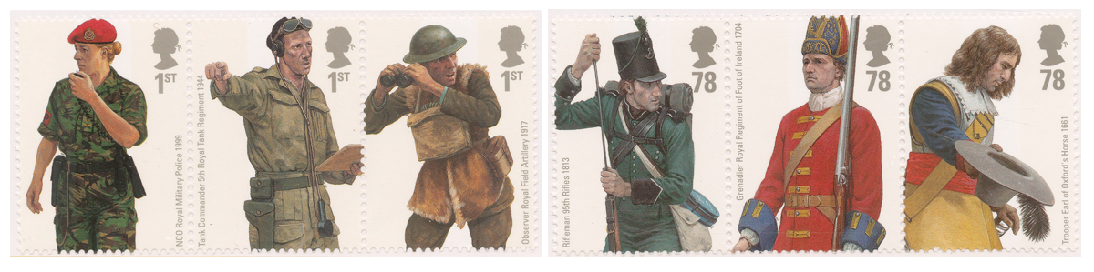 Six stamps depicting men and women in the British Army throughout the years in different uniforms.