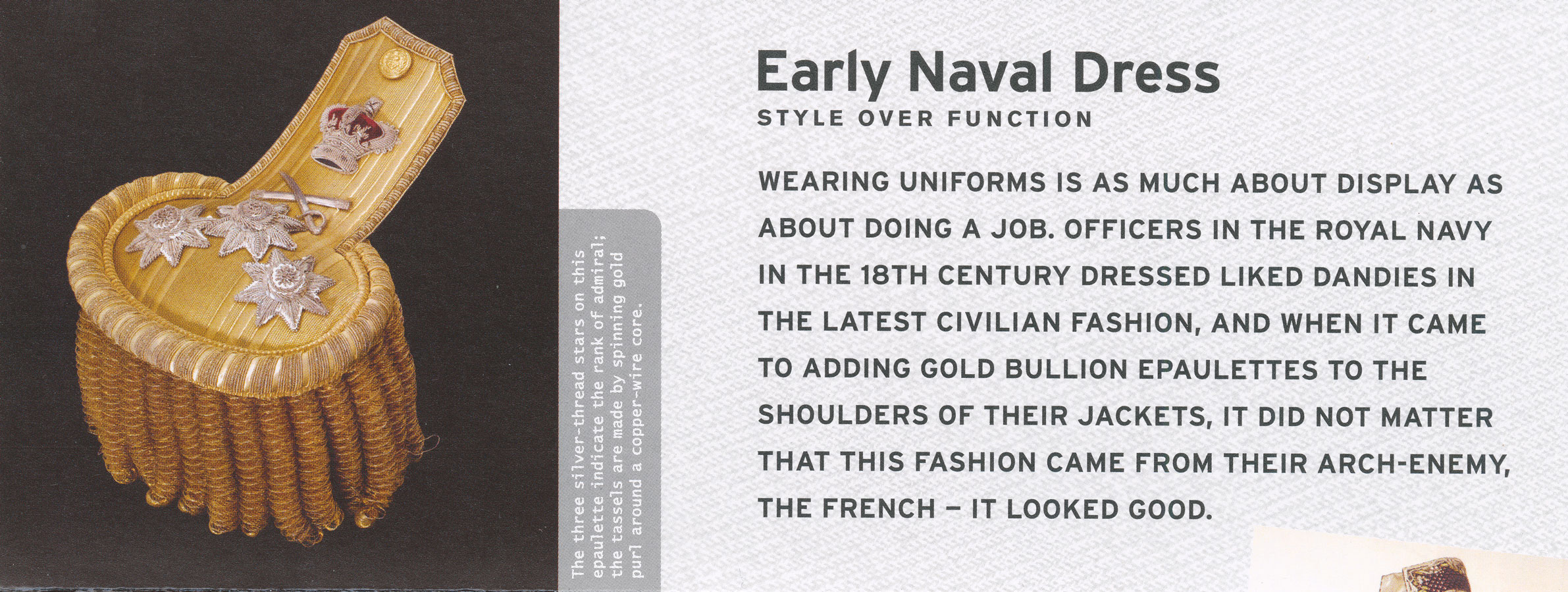 Printed image of an Admiral's epaulettes and information found within the issues Presentation Pack.