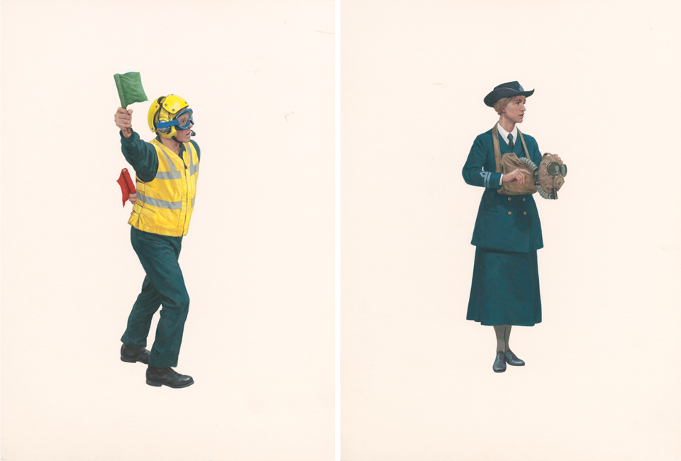 Two paintings of a Flight Deck officer in a yellow jacket holding flags and a women in a navy blue jacket and skirt holding a gas mask.