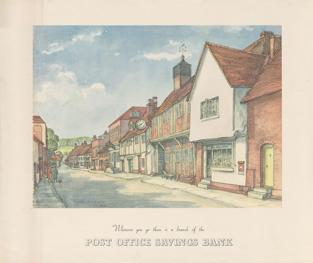 Painting showing a village street with a Post Office.