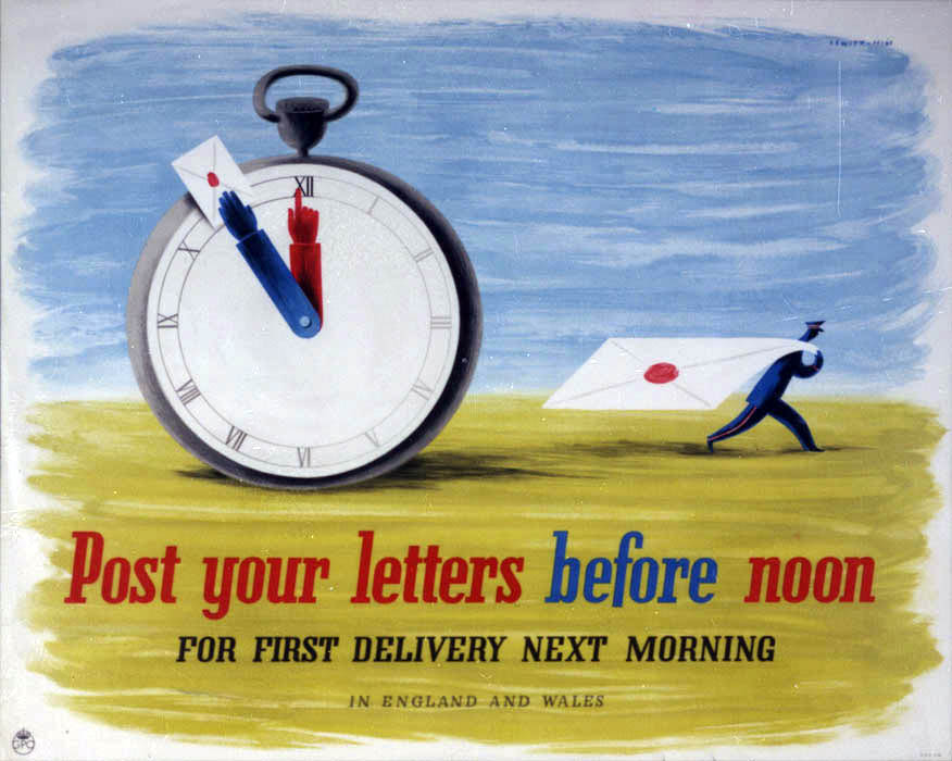 'Post your letters before noon'. Poster designed by Jan Le Witt and George Him, PRD 238, 1941, POST 110/3184.