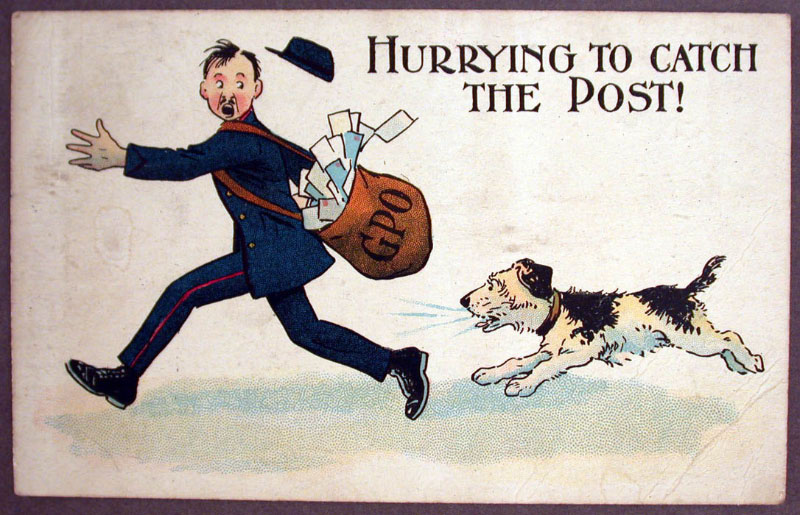 'HURRYING TO CATCH...' Postcard, 1925 (2005-0082/65).