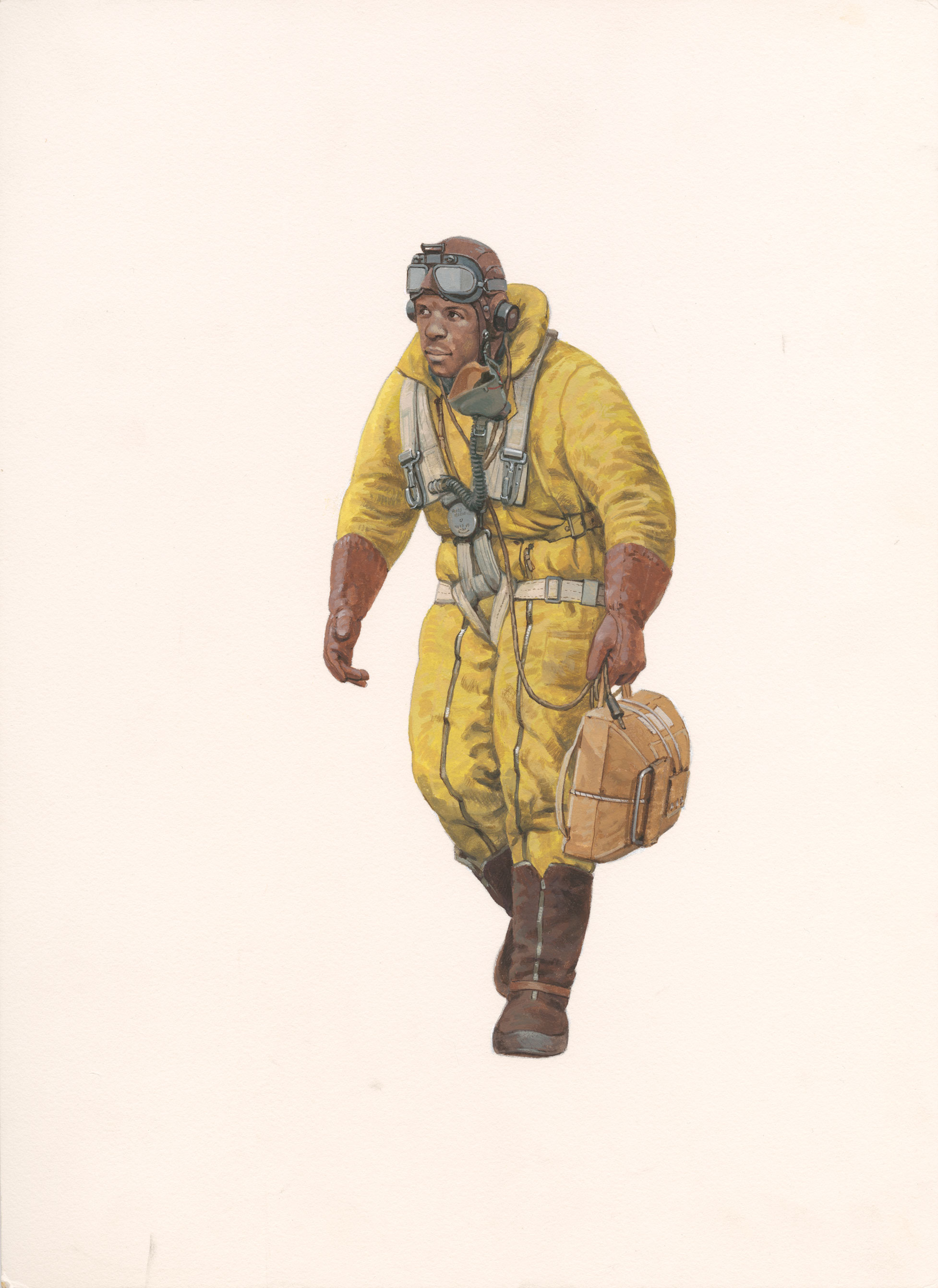A painting of a black Lancaster Air Gunner in a thick yellow flight suit carrying a bag.