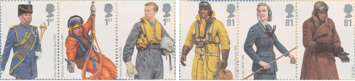 Six stamps that depict men and women performing different roles throughout the years by members of the Royal Air Force.