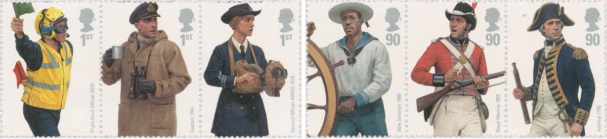 Six stamps depicting men and women throughout the years performing different roles in the Royal Navy.