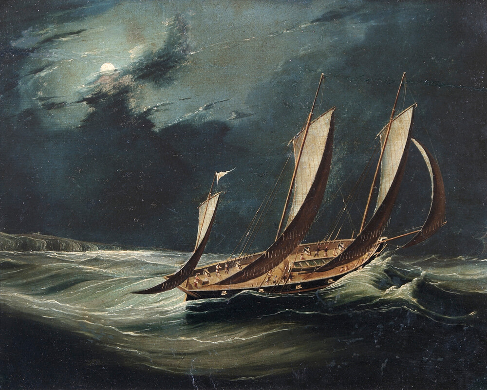 Oil painting in colour showing a sailing ship with three masts in stormy seas at night. The sky is dark and cloudy with moonlight shining from the moon partially hidden behind the clouds.