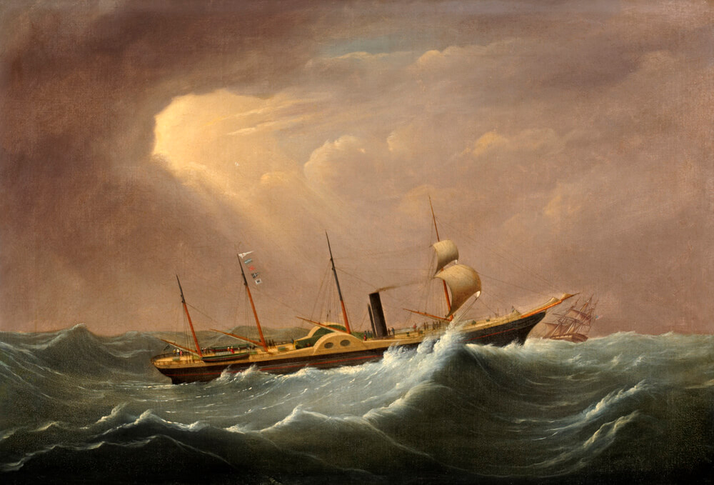 A 19th century oil painting showing a paddle steamer with four masts in a rough sea. The sky is cloudy with a ray of sunlight streaming through onto the ship.