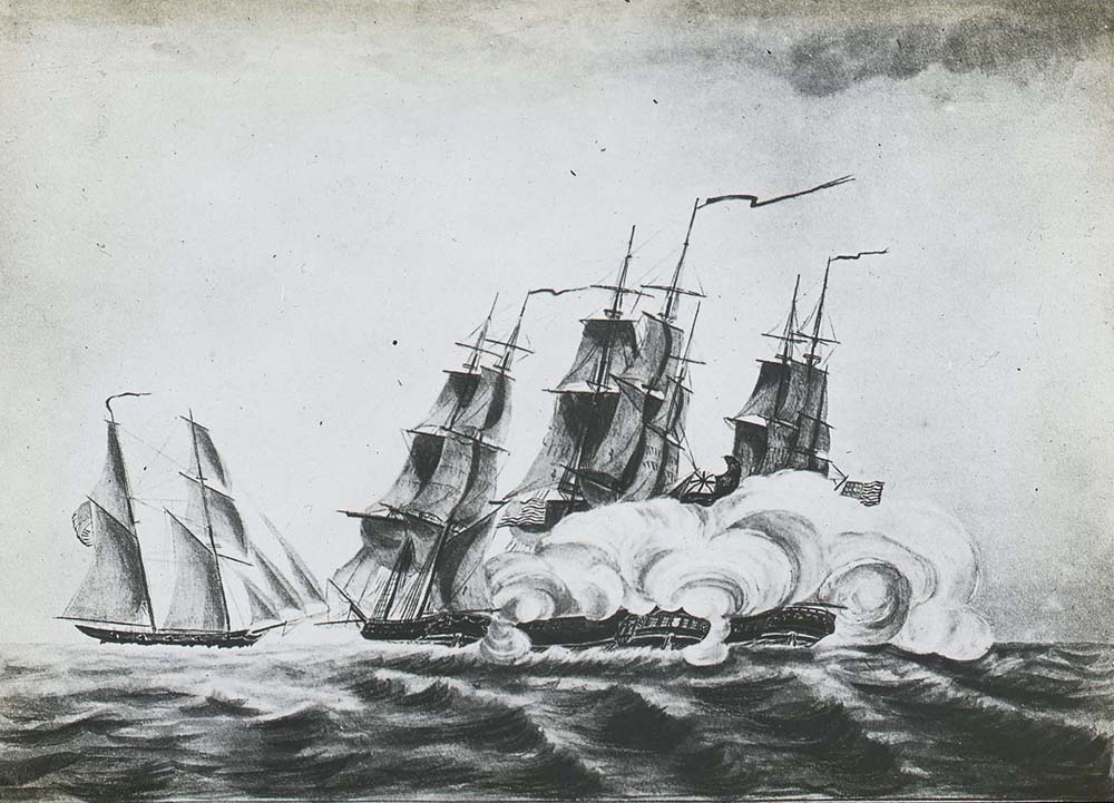 A black and white lantern slide of two sailing ships. The ship on the right has six masts as full sails and the lower portion of the ship is covered in smoke. There is a smaller ship to the left. The image shows HM packet ship 'Granville' being attacked by American privateers off the island of Barbados.
