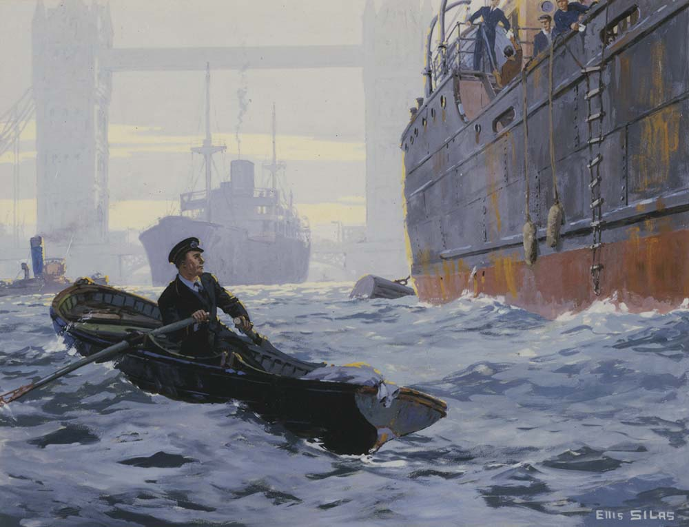 Artwork in colour for a poster showing a postman in a rowing boat on the River Thames. Two large ships and Tower Bridge are in the background.