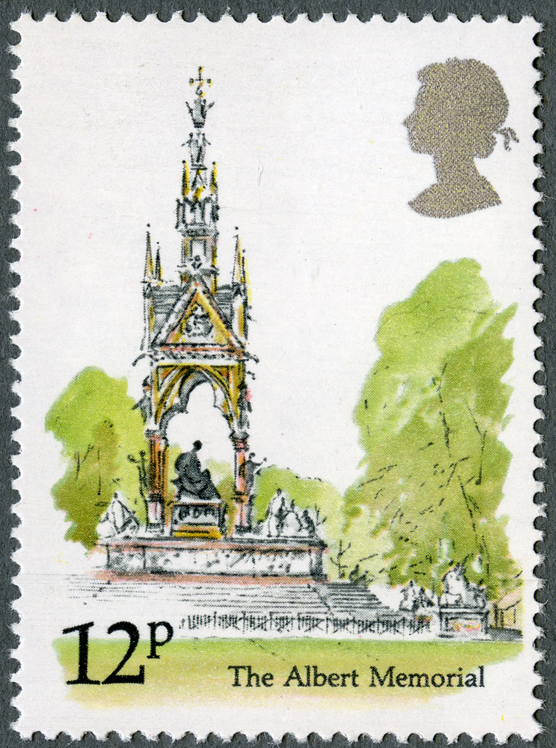 The stamp features a watercolour of the Prince Albert memorial in Kensignton Gardens.