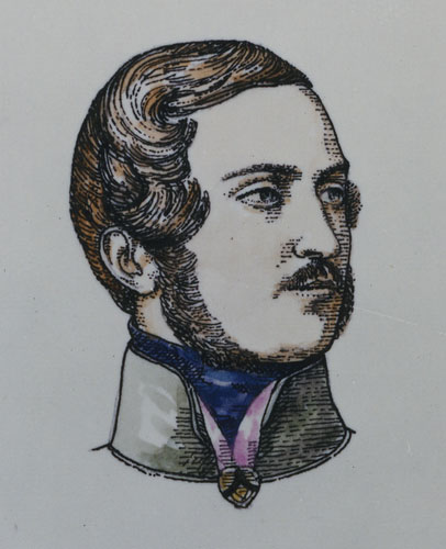 A coloured illustration of the head and neck of Prince Albert.