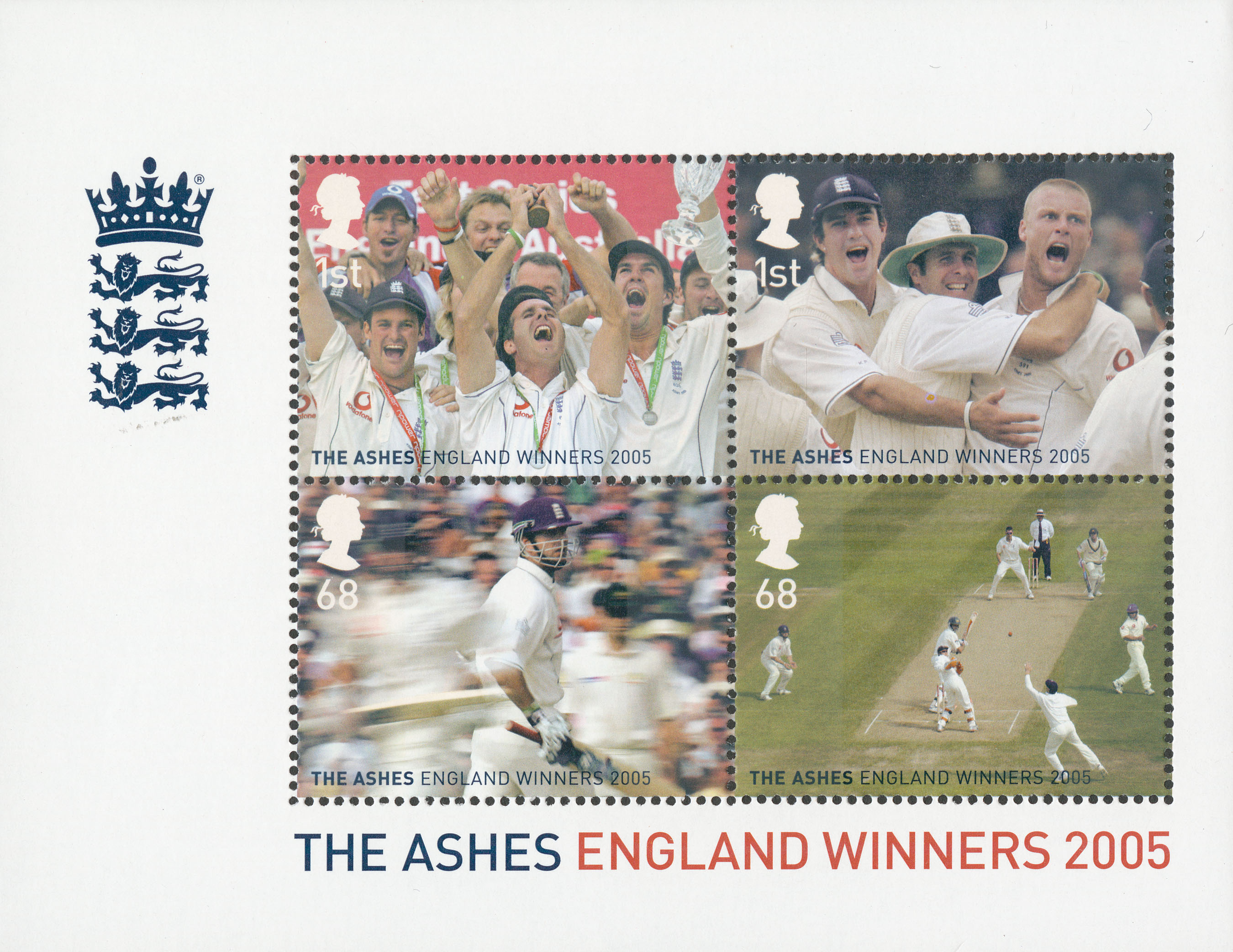 A miniature sheet featuring four stamps that show photographs from the Ashes tournament and an image of the team holding the cup.