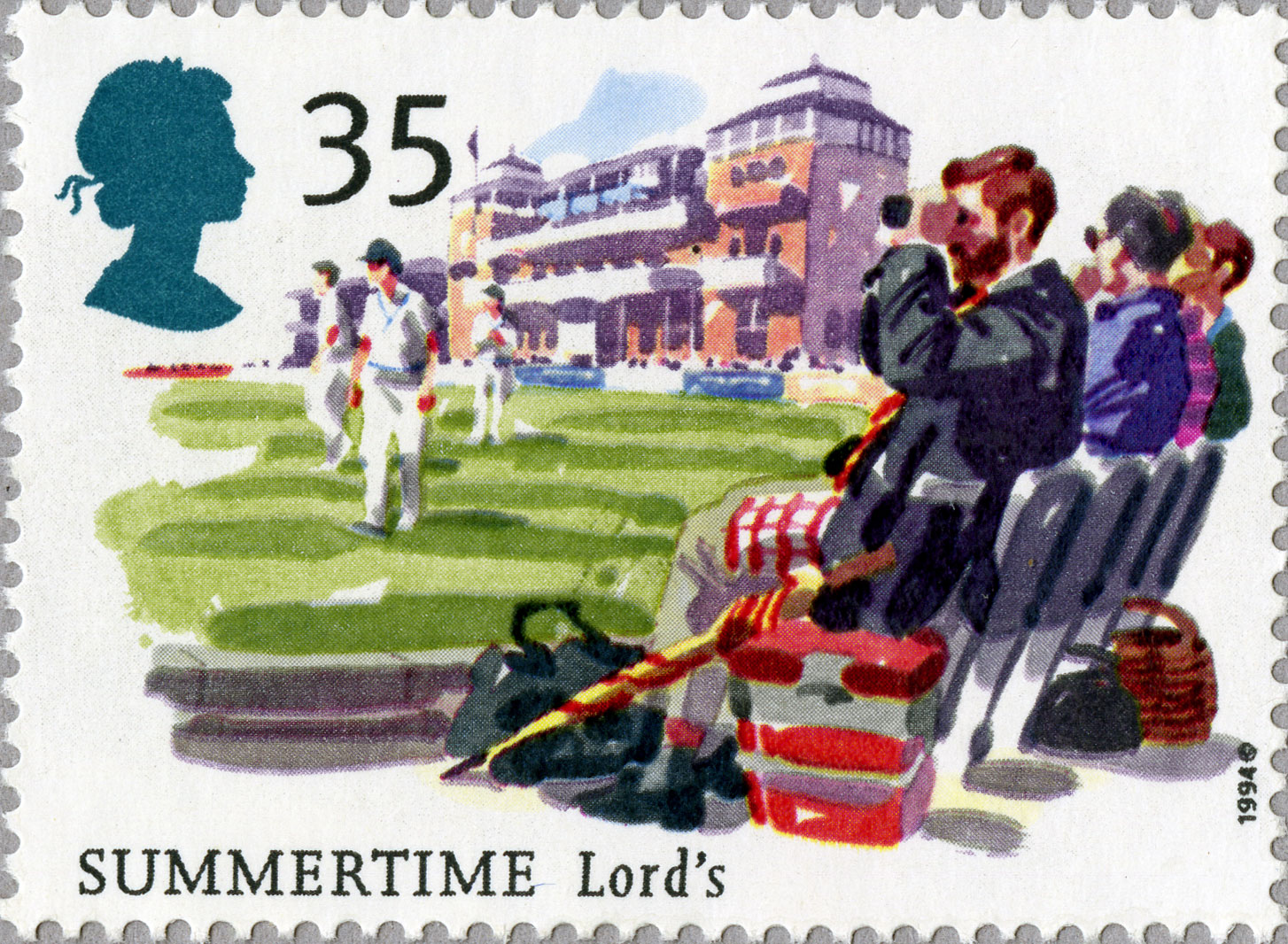 The issued design for 35p stamp featuring spectators watching cricket at Lord's.