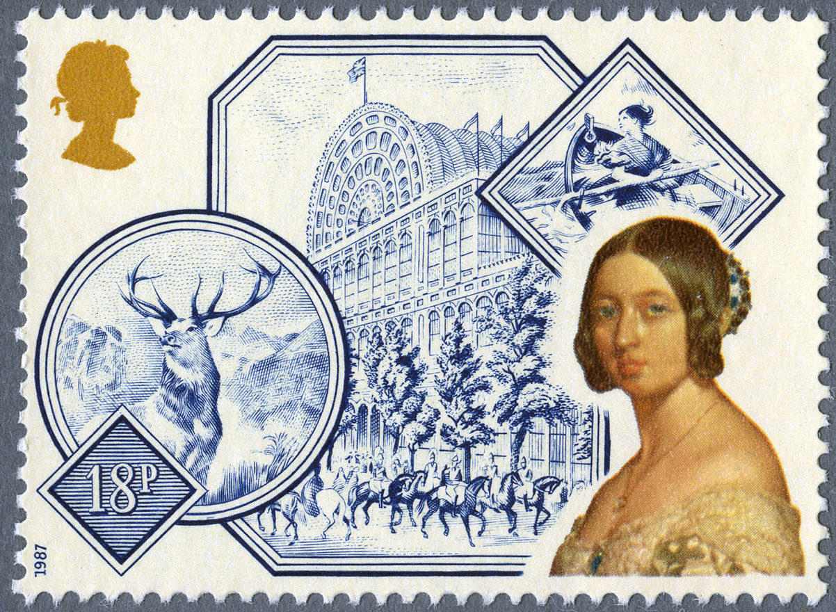 A stamp featuring illustration of Crystal Palace, a stag and a portrait of Queen Victoria.