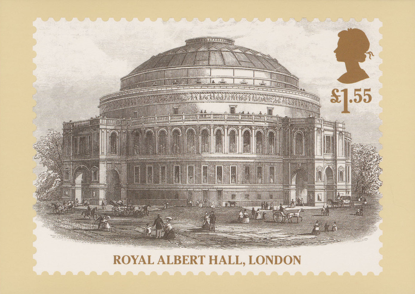 This postcard features an illustration of the Royal Albert Hall with Victorians walking around the outside.