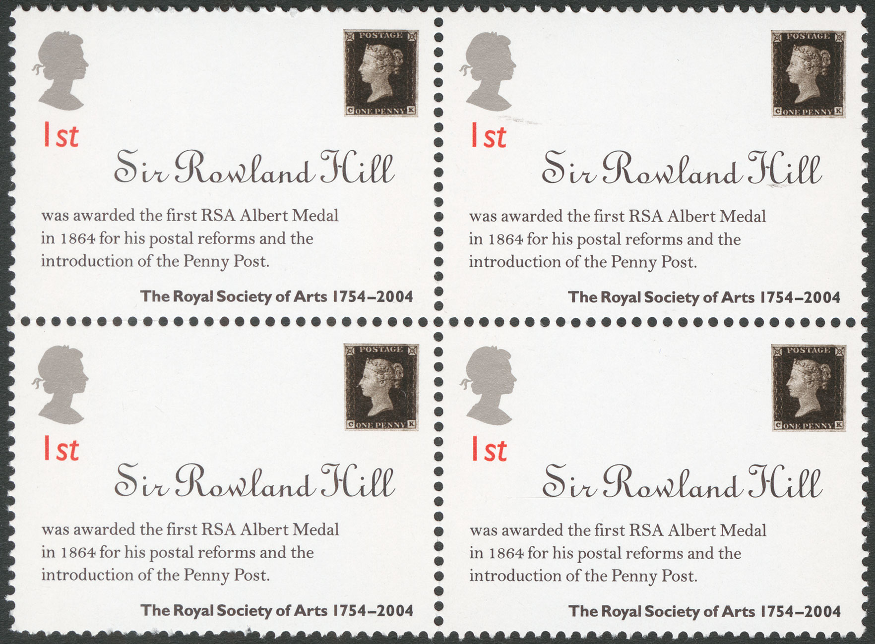 Four attached stamps featuring a Penny Black and information about Sir Rowland Hill receiving the RSA Albert medal.