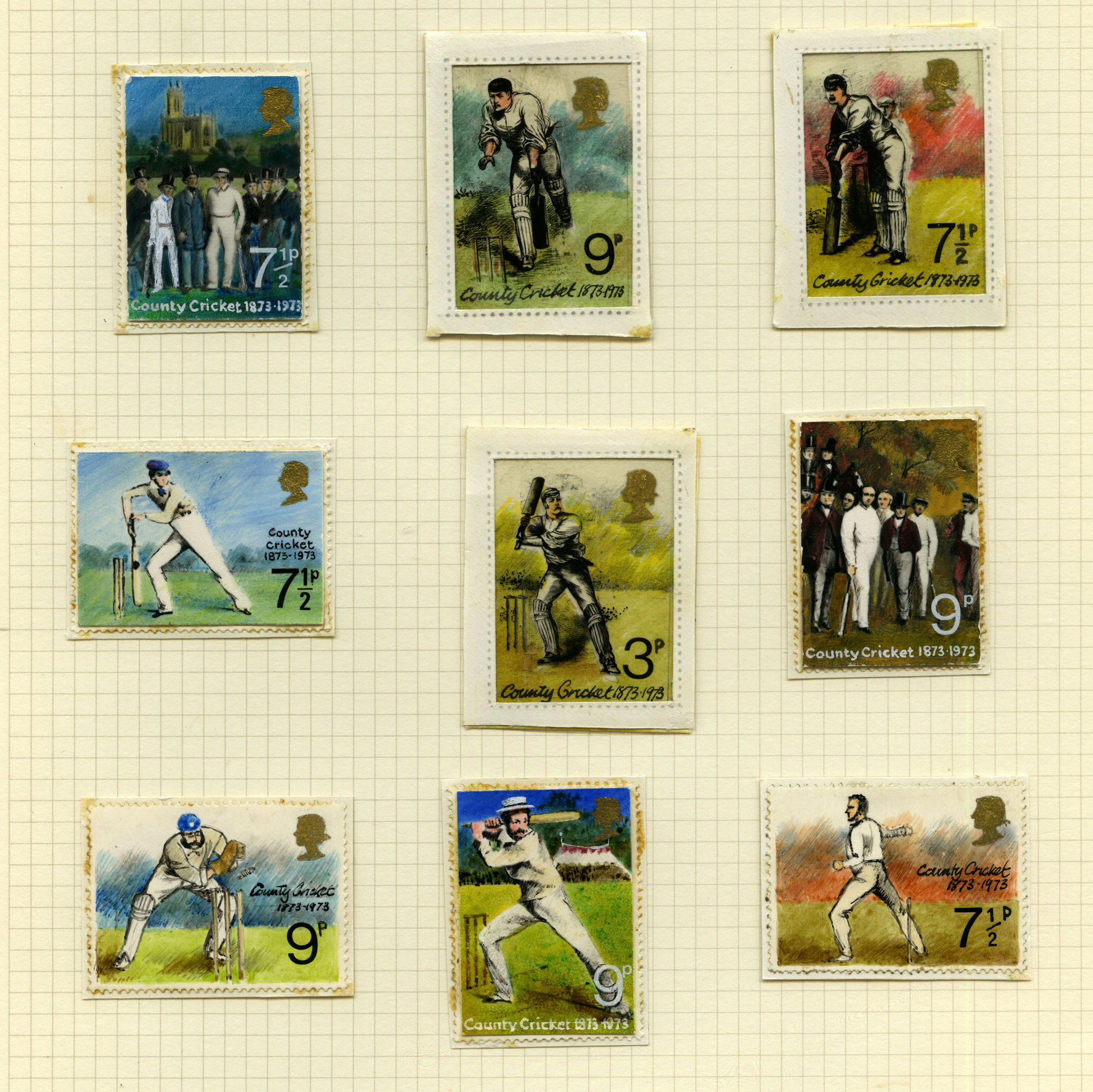 Nine stamp size colour illustrations of cricketers in different positions.