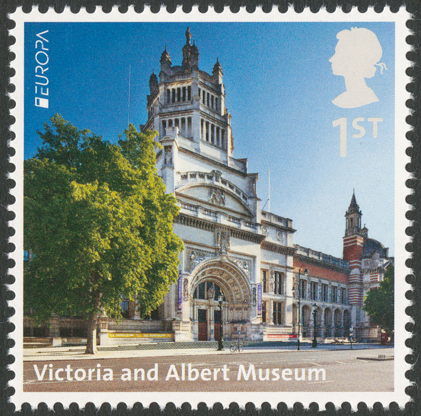 The stamp features a photograph of the entrance to the Victoria and Albert museum set against a blue sky.