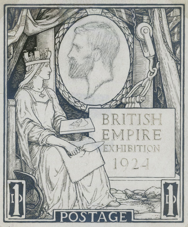 A sketch of Britannia holding a trowel with a rough profile of King George V in a oval.