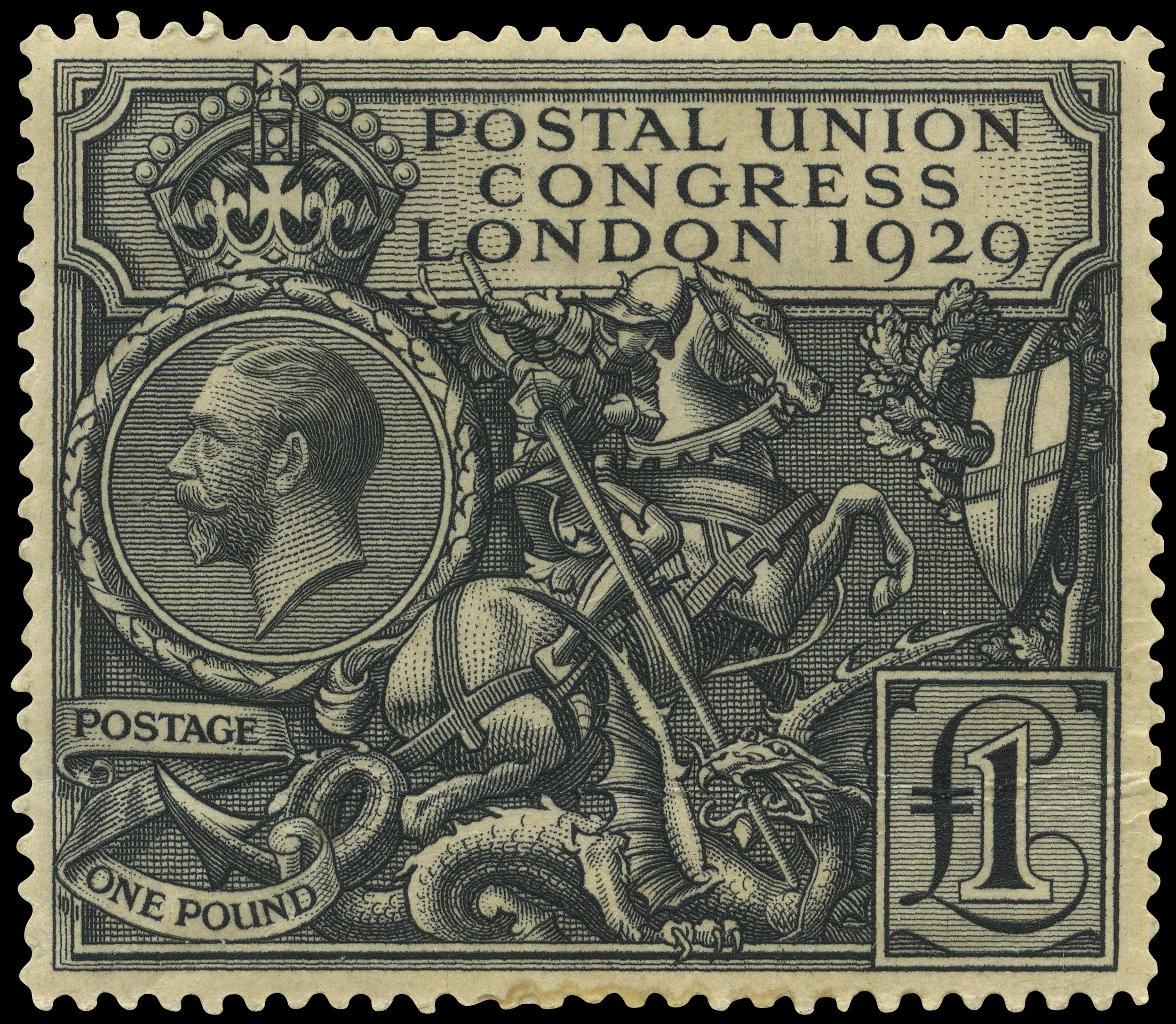 The issued stamp featuring St George on a horse spearing a dragon with a shield hanging in a tree.